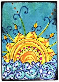 """I created this card for the """"Sun, Moon, and Stars"""" swap in ATCs for All These card is hand drawn on card stock. I used acrylic paints, ink, markers and metallic pens to colorize it. Art Journal Inspiration, Painting Inspiration, Color Inspiration, Art Soleil, Art Altéré, Wal Art, Good Day Sunshine, Sun Moon Stars, Moon Art"""