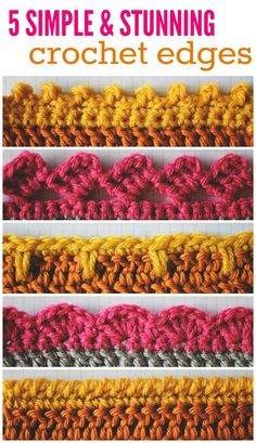 5 Stunning Crotchet Edges. Crotchet Borders, how to.