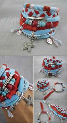 Bohemian bracelet hippie style in red and turquoise - a set of boho bracelets including one crochet tube bangle made using natural linen yarn and color cotton threads and multi layered cuff made from jersey strands, wooden bead, turquoise abacus beads, silver tone metal elements,