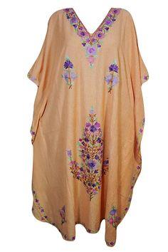 3af26fb2b623 Mogul Interior Women Kaftan Dress Peach Embroidered Cruise Party Kimono  Caftan One Size: Amazon.co.uk: Clothing