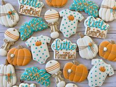 fall sugar cookies Baby Shower Party Favors, Baby Shower Themes, Baby Boy Shower, Shower Ideas, Baby Favors, Baby Shower Fall Theme, Baby Shower Decorations, Baby Boy Cookies, Baby Shower Cookies