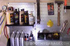 I would need to hire a professional if I wanted to epoxy my garage floor. I'm choosing the plastic tile because . Garage Floor Mats, Garage Walls, Garage Art, Diy Garage, Garage Doors, Generator Shed, Steel Pegboard, Stripped Wall, Garage Door Insulation