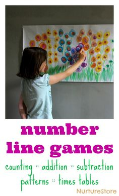 Flower number line - water color on butcher paper. Paint a flower garden with different colors representing groups of Number each flower. Great ideas for number line games - hands-on math activities Math Activities For Kids, Math For Kids, Fun Math, Math Games, Math Classroom, Kindergarten Math, Teaching Math, Teaching Ideas, Teaching Resources