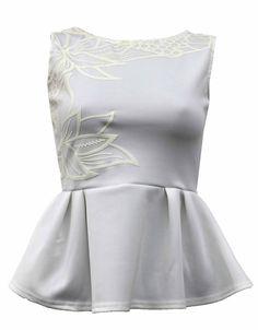 Cream Celebrity Inspired Occult Printed Peplum Top £12.95 NOW £ 10 #ChiaraFashion #BlissfulBabi #PeplumTop   https://www.chiarafashion.co.uk/coral-celebrity-inspired-occult-printed-sleeveless-bodycon-midi-dress-103353.html
