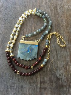 Labradorite Gemstone Necklace Long Beaded Jade by mSsDdesigns #bohochic #bohemian #mSs #jewelryonetsy