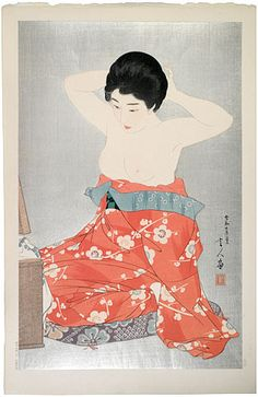A woodblock print by Torii Kotondo, Make-up, at Scholten Japanese Art. Japanese Prints, Woodblock Print, Japan Painting, Art Japonais, Geisha, Exhibition, Japan Art, Indian Art, Japan Illustration