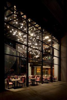 High-mounted hanging pendant lights from the street - Kampachi restaurant by Blu Water Studio Kuala Lumpur 10