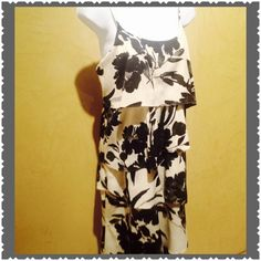 DRESS WITH LAYERS OF FUN CREAM BACKGROUND HOSTS SHADES OF BLACK AND GREY FLORAL DESIGN ADD YOU AND THE EVENING IS COMPLETE. Worn 1 TIME Old Navy Dresses