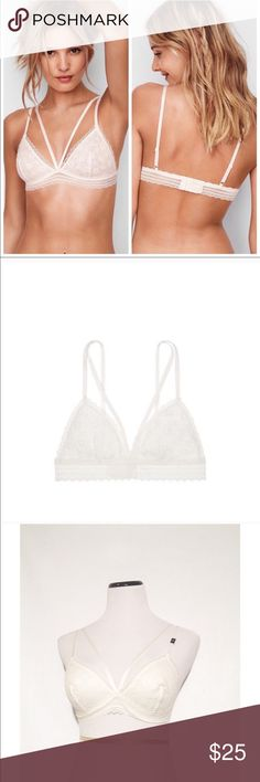 NWT Victoria's Secret white bralette Brand: VS Size: 36A 36B 34C 34D according to size chart  Material: nylon and spandex  Condition: NWT Brand new in package. Only opened to take photo on dress form. Size tag attached  Details: wireless crochet cups, mesh lining, adjustable straps, super soft band.   ✔️Fast shipping  ✔️Bundle discounts  ✔️⭐️⭐️⭐️⭐️⭐️  ✨Shop with confidence, I'm a suggested user! Victoria's Secret Intimates & Sleepwear Bras