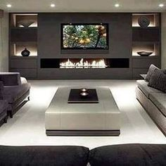 Modern units in living room modern 40 Contemporary Living Room Ideas — RenoGuide - Australian Renovation Ideas and Inspiration Living Room Tv, Living Room With Fireplace, Home And Living, Modern Living, Living Room Ideas With Tv On Wall, Luxury Living, Small Living, Fireplace Tv Wall, Fireplace Design