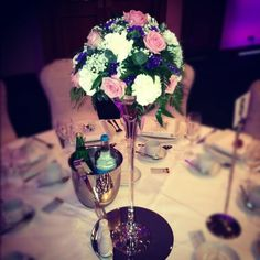 Pink and purple centrepiece