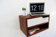 Mid Century Modern Floating Nightstand/Console with Shelf by ImagoFurniture on Etsy
