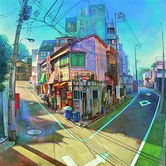 By Hashimoto Reina. Resources for 2 point perspective cityscape.