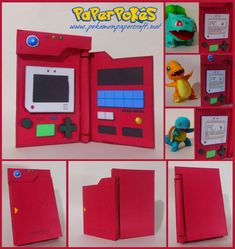 This pokemon papercraft is a Pokedex Generation I (model an electronic device designed to catalogue and provide information regarding the variou Pokemon Room, Pokemon Craft, Pokemon Party, Pokemon Birthday, Pokemon Diys, Pokemon Pokedex, Fun Crafts, Diy And Crafts, Crafts For Kids