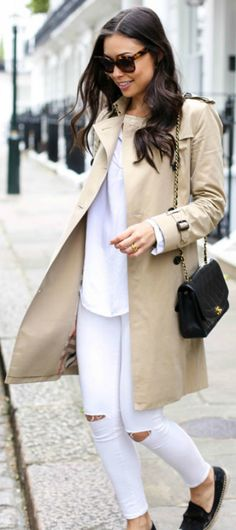 White jeans and top paired with a trench coat and black espadrilles to set it all off. Such a classic. Via Kat Tanita  Trench Coat: Burberry, Espadrilles: Soludos, Jeans: Topshop, Bag: Vintage Chanel, Top: Velvet, Sunglasses: Celine. Cute Spring Outfit