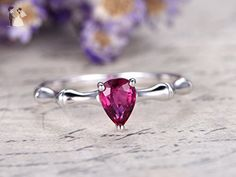 5x7mm Pear Cut 0.85ct Natural Pink Tourmaline Solid 14k White Gold Engagement Ring Bridal Ball Prong Wedding Band Antique Art Deco - Wedding and engagement rings (*Amazon Partner-Link)