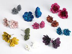 Flower Post Earrings in Sterling Silver & Fabric