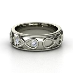Wide Infinite Love Ring, White Gold Ring with Diamond from Gemvara