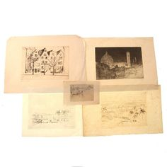 Hermann Struck - 5 Landscapes Havana II, hand signed and numbered Gu. on Dec 2016 Israel, Vintage World Maps, Landscapes, Auction, Paisajes, Scenery
