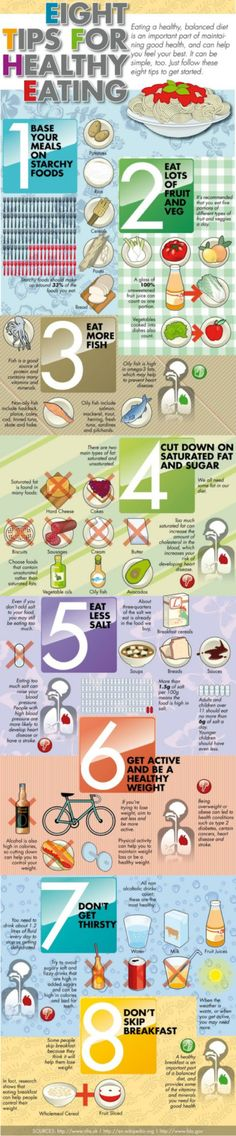 8 Tips for Healthy Eating - well number one is a big fat no, but the rest is decent