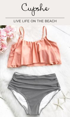 5e132eedf1ec8 Treat yourself something special~ Cute soft piece as Cupshe Seaside Gale  Falbala High-waisted Bikini Set! It features cute falbala design and  adjustable ...