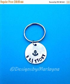 Anchor Key chain,Personalized Jewelry, Hand Stamped Jewelry, Christmas Gifts, Navy Gift, Marines Key chain, Gifts for Mom, Boating Key Chain
