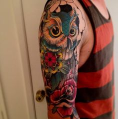 this is crazy awesome. owl with mandala and rose