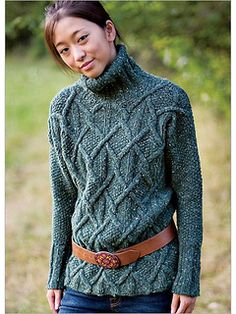 ♥ Gorgeous Aran Pullover by Kristin Nicholas - Cables travel from the ribless hem to form interlocking diamonds on a seed-stitch background. The sleeves are worked without cables in a simple seed-stitch, and the sweater ends in a high ribbed collar - $