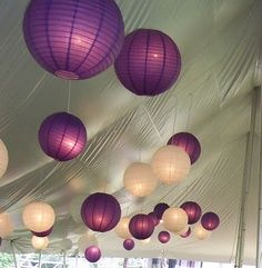 purple and white wedding paper lanterns