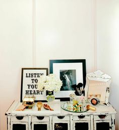 6 Tips to Organizing Your Beauty Products #theeverygirl. 3. If space allows, create a personalized beauty station with a table or side chair and personalize it with a framed quote. Arrange beauty products to greet you in glass trays and clever little boxes.