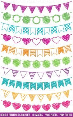 Doodle Bunting Clipart Clip Art, Doodle Flags Ribbons Banners Clipart Clip Art - Commercial and Personal Use Doodle Drawings, Doodle Art, Clipart, Banners, Doodle Lettering, Chalkboard Art, Bullet Journal Inspiration, Smash Book, Bullet Journal