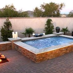 A Jacuzzi is a real relaxation oasis, the best place ever to have a rest after a long day. But if your Jacuzzi is outdoors, it's even more amazing . Hot Tub Backyard, Backyard Kitchen, Small Backyard Pools, Small Pools, Fire Pit Backyard, Backyard Patio, Backyard Ideas, Outdoor Pool, Garden Ideas