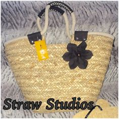 """NWT- Straw Studios (Chicago) Handcrafted Tote Perfect Summer Bag,Beautifully handcrafted From Straw Studios in Chicago. Heavy Rope & Canvas make up the top of the bag and the handles. The inside is lined with fabric. Dimensions are 12""""deep x 12""""across at the bottom & 18"""" toward the top x 6""""wide at the bottom. Straw Studios Bags Totes"""