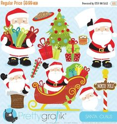 80% OFF SALE 80 Percent 0FF Sale Christmas clipart commercial use,Santa Claus vector graphics, digital clip art, digital images - Cl607 by Prettygrafikdesign on Etsy