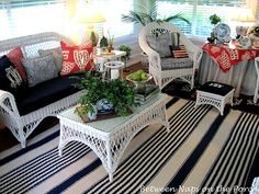 my wicker porch furniture, a snazzy rug, & cool coordinated outdoor cushions... could happen!