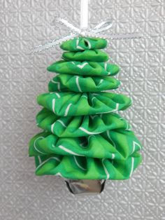Green and White Chevron Fabric Tree Ornament by SursyShop on Etsy