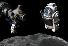 Space exploration - A Manned Maneuvering Vehicle piloted by a female astronaut prepares to descend to a small asteroid; MMU; MMUs; deep spac...