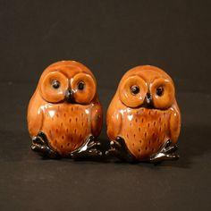 Vintage uil Salt & Pepper Shakers, 80s bruin keramische uilen door Duncan ondernemingen, Set van 2 Collectible uilen, Decor van de keuken van het Kitsch huis