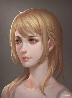 金发美女原画头像_CGwall原画网