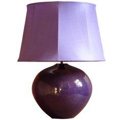 French Deep Purple 1960s Lamp With Silk Hand Sewn Shade | 1stdibs.com