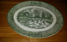 Vintage Scio Pottery Green Ox Yoke And Plow Oval Platter Village Scene