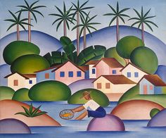 """Tarsila do Amaral Courtesy of The State Hermitage Museum, St. Petersburg, Russia Tarsila do Amaral's 1925 painting """"Pescador."""" So pleasing to gaze at. Art And Illustration, Modern Art, Contemporary Art, Art Populaire, Art Brut, Art Database, Art Moderne, Naive Art, Outsider Art"""