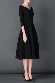 Cys Black A Line Midi Hepburn Dress | Midi Dresses at DEZZAL