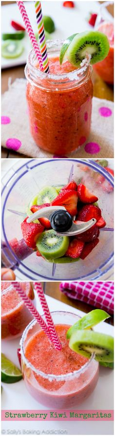Sweet and tangy Frozen Strawberry Kiwi Margaritas - they're so easy, you'll be making pitcher after pitcher!