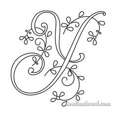 Monograms for Hand Embroidery: Delicate Spray W, X, Y, Z – NeedlenThread.com