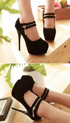 High-heeled Black Women's Prom Shoes.