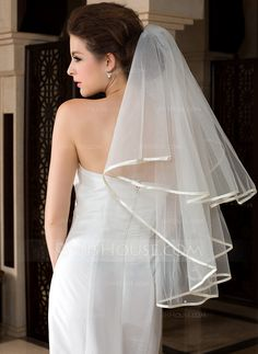 Waltz Bridal Veils Tulle One-tier Classic Ribbon Edge Ribbon Faux Pearl 55.12 in (140cm) Combs not included  but come with 4 free hairpins White Ivory White Spring Summer Fall Winter A-line/Princess Sheath Mermaid Color & Style representation may vary by