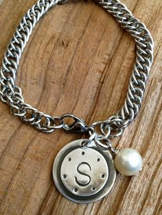girls initial soldered bracelet. love.