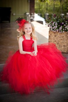 Lovely First Communion Dresses for Girls Red Tulle Wedding Party Gowns