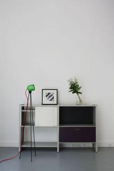 Lampadaire Tripod180° Touch / halogène Blanc / Câble tissu rouge - Azimut…